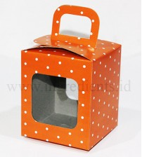 BOX CUPCAKE POLKA TENTENG ORANGE
